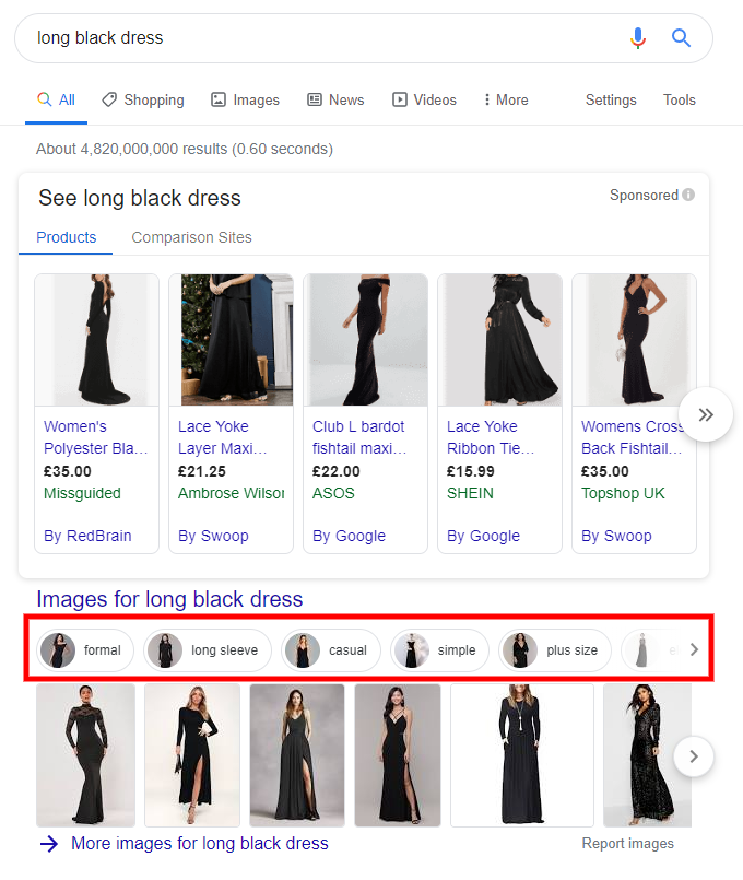 Image Filter in Google Universal Search - Page 1 for Long Black Dress
