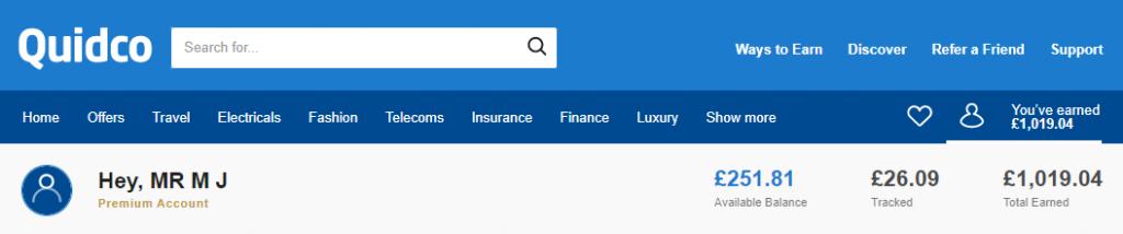 Quidco Account Screenshot